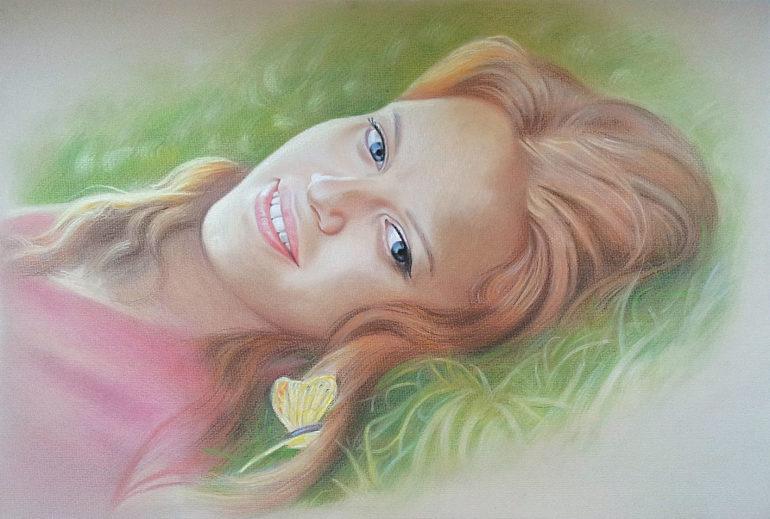 Настоящий портрет пастелью для любимой девушки в Вологде, просто и со вкусом!
