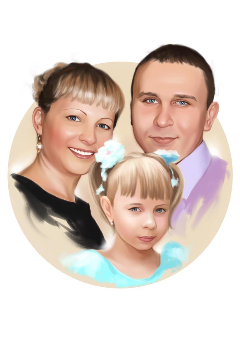 Семейный портрет по фото на холсте в Вологде — правильный подарок!