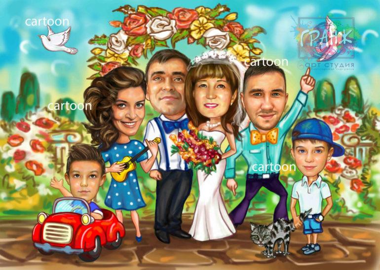 Шарж по фото на годовщину свадьбы на заказ в Вологде…