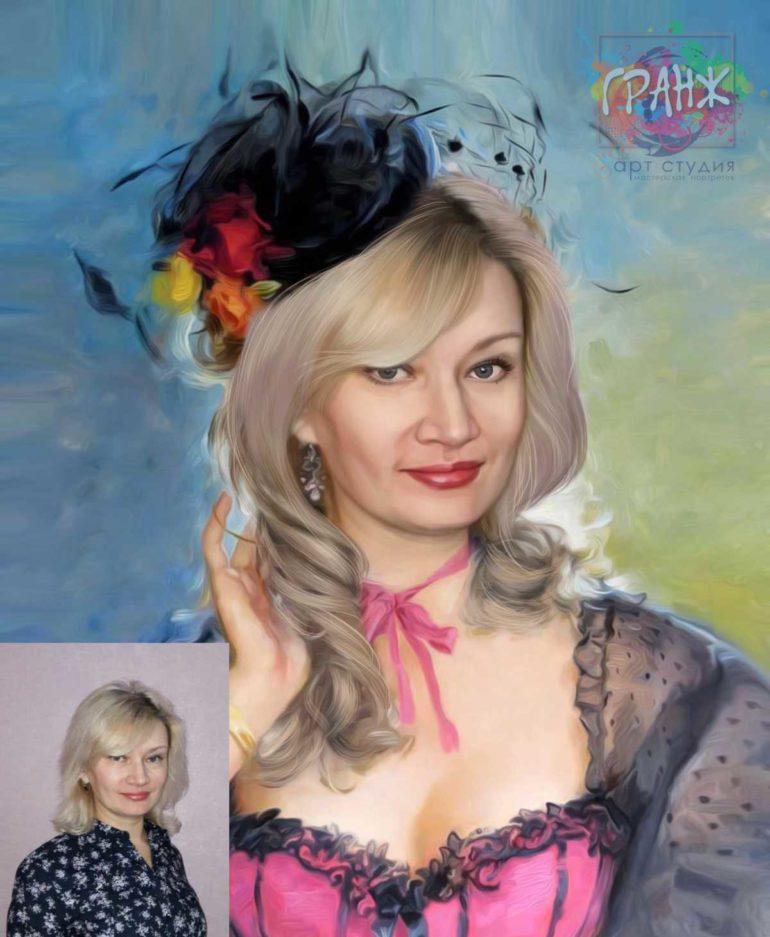 Заказать арт портрет по фото на холсте в Вологде