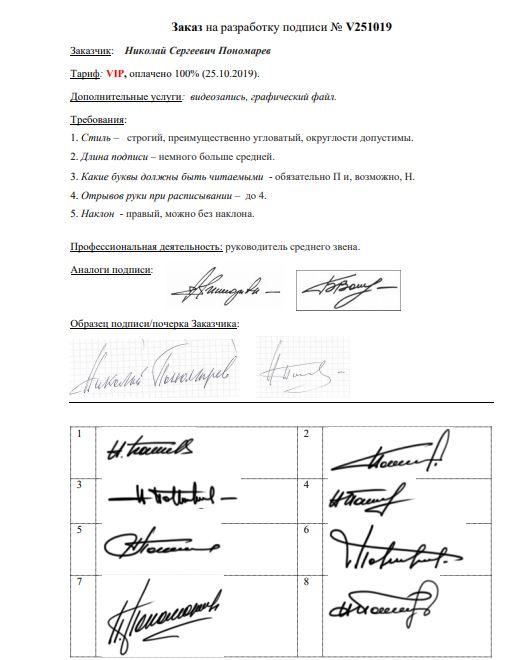 Разработка личной подписи онлайн Вологда